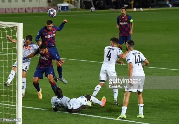 Clement Lenglet of Barcelona scores his sides first goal during the UEFA Champions League round of 16 second leg match between FC Barcelona and SSC...