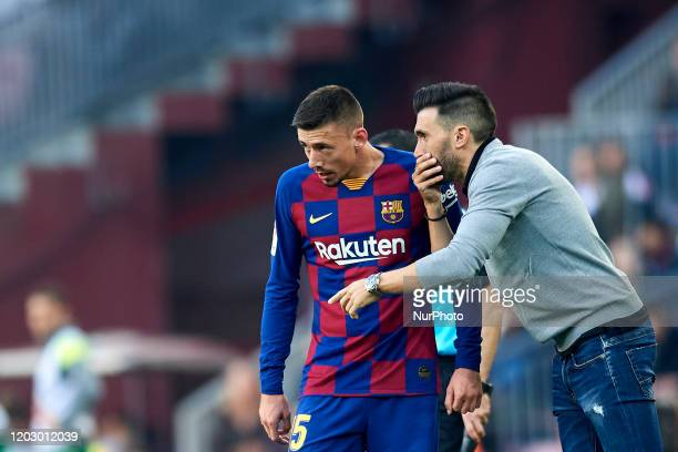 Clement Lenglet of Barcelona talking with Eder Sarabia during the Liga match between FC Barcelona and SD Eibar SAD at Camp Nou on February 22 2020 in...