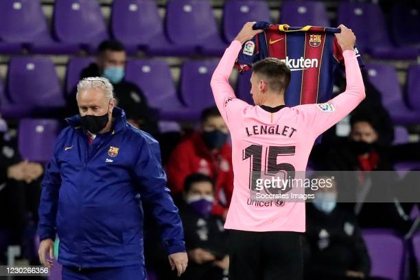 Clement Lenglet of FC Barcelona celebrates 0-1 with shirt of Wague of FC Barcelona during the La Liga Santander match between Real Valladolid v FC...