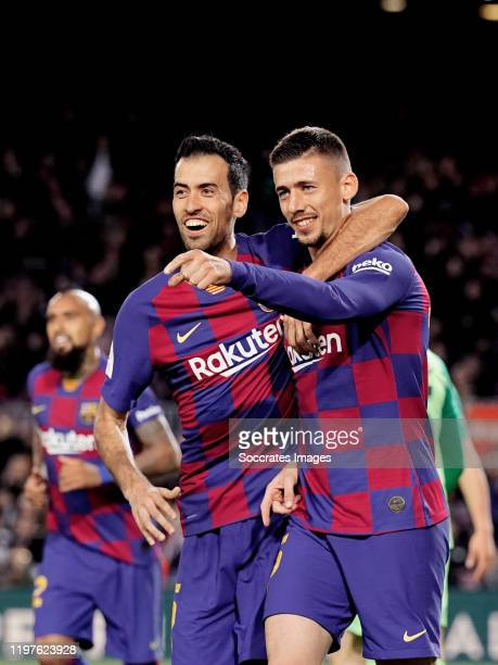 Clement Lenglet of FC Barcelona celebrates 2-0 with Sergio Busquets of FC Barcelona during the Spanish Copa del Rey match between FC Barcelona v...