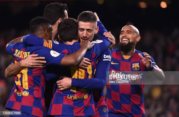 Clement Lenglet of FC Barcelona celebrates scoring the second goal during the Copa del Rey Round of 16 match between FC Barcelona and CD Leganes at...