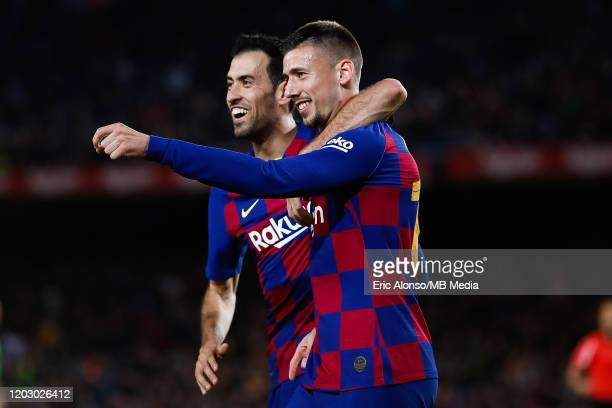 Clement Lenglet of FC Barcelona celebrates the 2-0 with Sergio Busquets of FC Barcelona during the Copa del Rey round of 16 match between Barcelona...