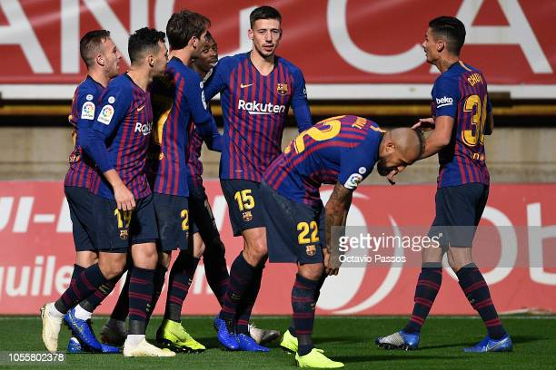 Clement Lenglet of FC Barcelona celebrates with teammates after scoring the first goal of his team during the Spanish Copa del Rey match between...