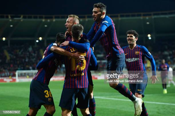 Clement Lenglet of FC Barcelona celebrates with teammates after scoring the opening goal during the Spanish Copa del Rey match between Cultura...
