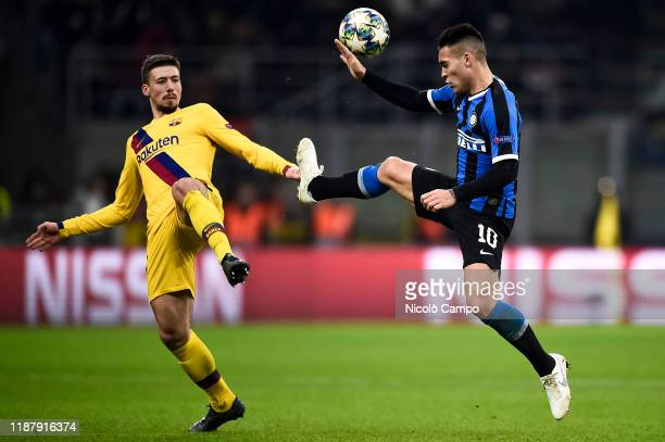 Clement Lenglet of FC Barcelona competes for the ball with Lautaro Martinez of FC Internazionale during the UEFA Champions League football match...