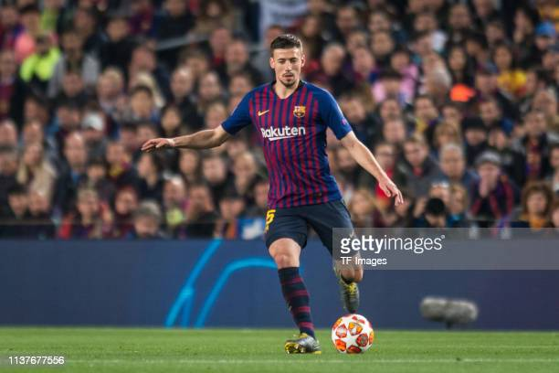 Clement Lenglet of FC Barcelona controls the ball during the UEFA Champions League Quarter Final second leg match between FC Barcelona and Manchester...