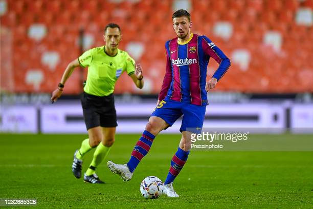 Clement Lenglet of FC Barcelona during the La Liga match between Valencia CF and FC Barcelona played at Mestalla Stadium on May 2, 2021 in Valencia,...