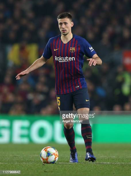 Clement Lenglet of FC Barcelona in action during the Copa del Rey Semi Final match between FC Barcelona and Real Madrid at Nou Camp on February 06...