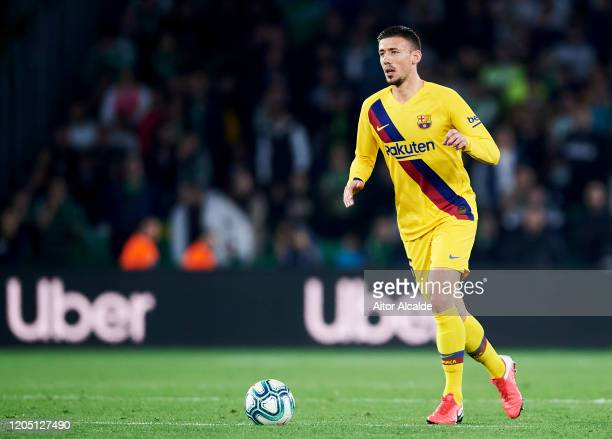 Clement Lenglet of FC Barcelona in action during the Liga match between Real Betis Balompie and FC Barcelona at Estadio Benito Villamarin on February...