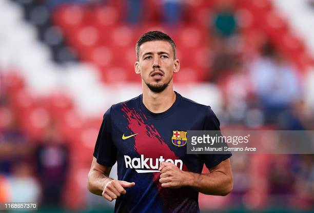 Clement Lenglet of FC Barcelona looks on as he warms up during the Liga match between Athletic Club and FC Barcelona at San Mames Stadium on August...