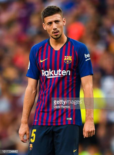 Clement Lenglet of FC Barcelona looks on during the Joan Gamper Trophy match between FC Barcelona and Boca Juniors at Camp Nou on August 15 2018 in...