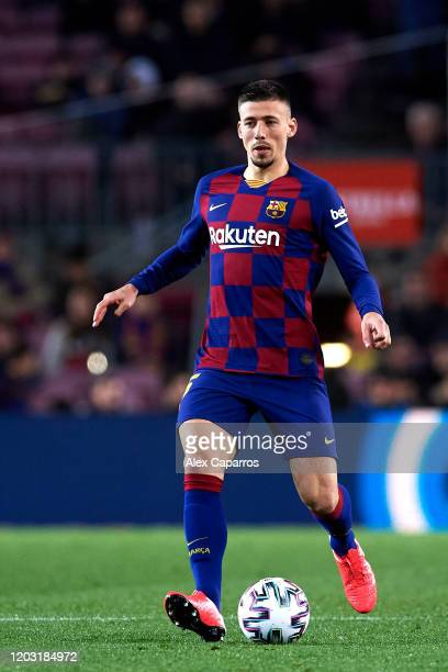 Clement Lenglet of FC Barcelona runs with the ball during the Copa del Rey Round of 16 match between FC Barcelona and CD Leganes at Camp Nou on...