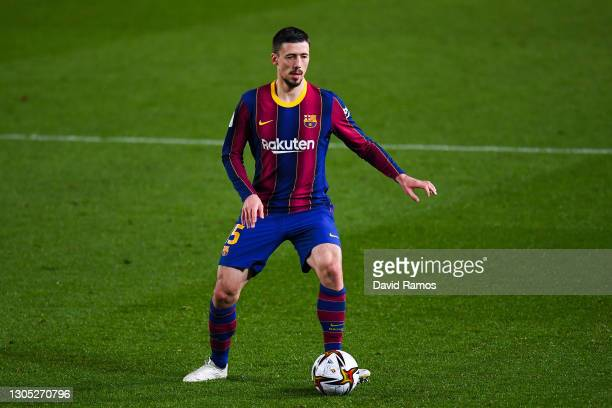 Clement Lenglet of FC Barcelona runs with the ball during the Copa del Rey Semi Final Second Leg match between FC Barcelona and Sevilla at Camp Nou...