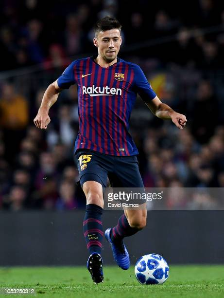 Clement Lenglet of FC Barcelona runs with the ball during the Group B match of the UEFA Champions League between FC Barcelona and FC Internazionale...