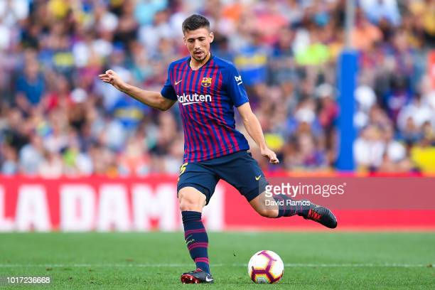 Clement Lenglet of FC Barcelona runs with the ball during the Joan Gamper Trophy match between FC Barcelona and Boca Juniors at Camp Nou on August 15...