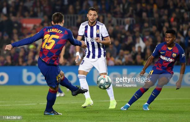 Clement Lenglet of FC Barcelona scores his team's first goal during the Liga match between FC Barcelona and Real Valladolid CF at Camp Nou on October...