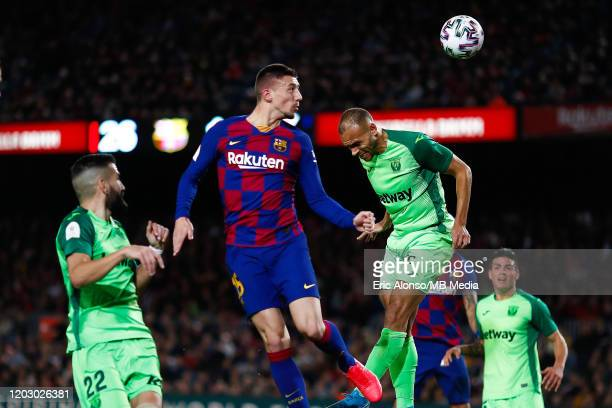 Clement Lenglet of FC Barcelona scores the 2-0 during the Copa del Rey round of 16 match between Barcelona and Leganes at Camp Nou on January 30,...
