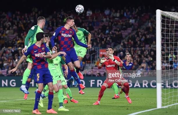 Clement Lenglet of FC Barcelona scores the second goal during the Copa del Rey Round of 16 match between FC Barcelona and CD Leganes at Camp Nou on...
