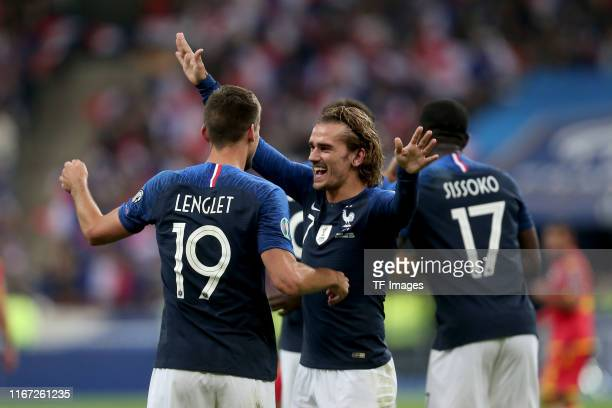 Clement Lenglet of France and Antoine Griezmann of France celebrates after scoring his team's second goal with team mates during UEFA Euro 2020...