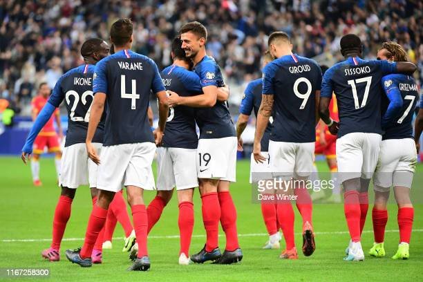 Clement Lenglet of France is congratulated by after he heads his side 2-0 ahead during the UEFA European Championship 2020 qualifying match between...