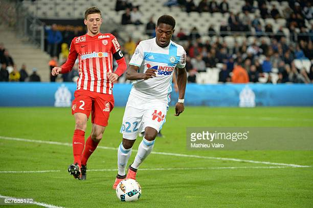 Clement LENGLET of Nancy and Aaron LEYA ISEKA of Marseille during the Ligue 1 match between Olympique de Marseille and AS NancyLorraine at Stade...
