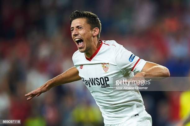 Clement Lenglet of Sevilla FC celebrates after scoring the first goal for Sevilla FC during the UEFA Champions League group E match between Sevilla...