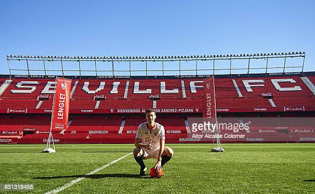 Clement Lenglet of Sevilla FC during his official presentation at the Estadio Ramon Sanchez Pizjuan on January 9, 2017 in Seville, Spain.