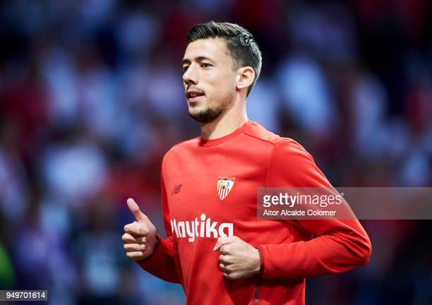 Clement Lenglet of Sevilla FC reacts on prior to the match the Spanish Copa del Rey Final between Barcelona and Sevilla at Wanda Metropolitano on...