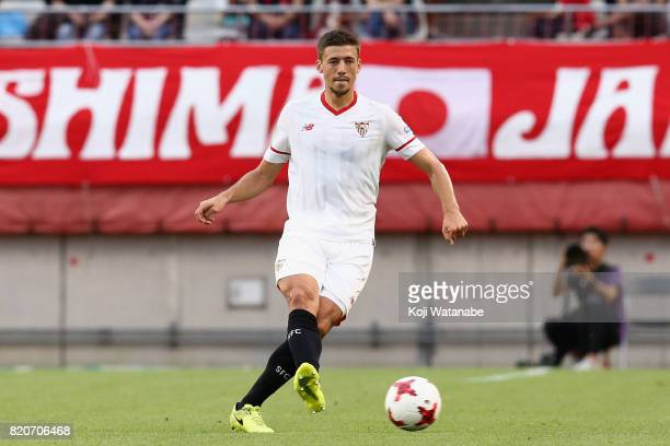 Clement Lenglet of Sevilla in action during the preseason friendly match between Kashima Antlers and Sevilla FC at Kashima Soccer Stadium on July 22...