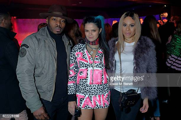 Clement Marfo Bip Ling and Camilla Destiny attend The Simpsons x Skinnydip collection launch party at The Cuckoo Club on November 10 2016 in London...