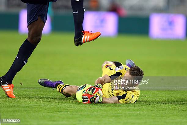 Clement Maury of Ajaccio makes a save under pressure from Cheick Diabate of Bordeaux during the French Ligue 1 match between FC Girondins de Bordeaux...