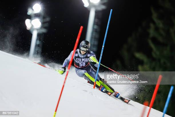 Clement Noel in action during the Audi FIS Alpine Ski World Cup Men's Slalom on December 22, 2017 in Madonna di Campiglio, Italy.