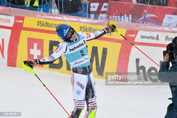 Clement Noel of France celebrates during the Audi FIS Alpine Ski World Cup Men's Slalom on March 21, 2021 in Lenzerheide, Switzerland.