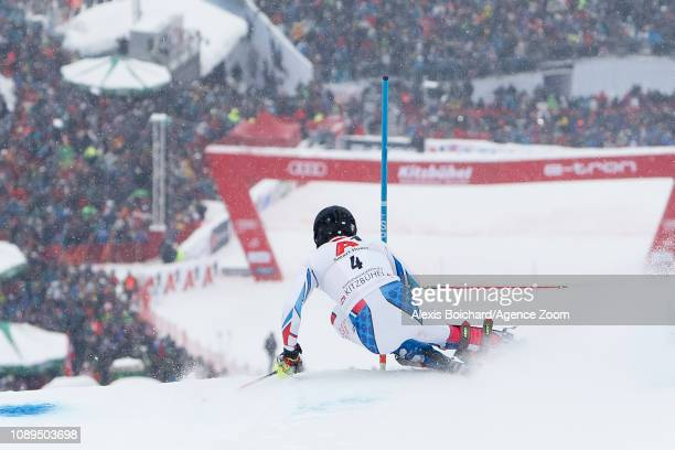 Clement Noel of France competes during the Audi FIS Alpine Ski World Cup Men's Slalom on January 26, 2019 in Kitzbuehel Austria.