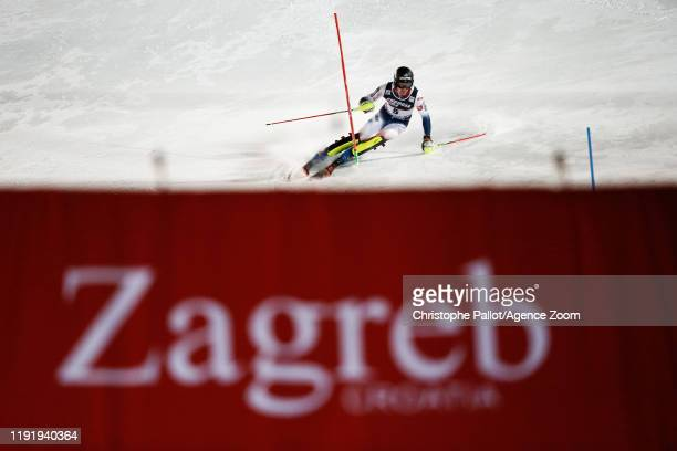 Clement Noel of France competes during the Audi FIS Alpine Ski World Cup Men's Slalom on January 5, 2020 in Zagreb Croatia.