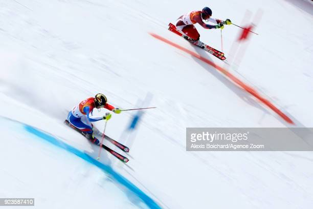 Clement Noel of France competes Ramon Zenhaeusern of Switzerland wins the gold medal during the Alpine Skiing National Team Event at Yongpyong Alpine...