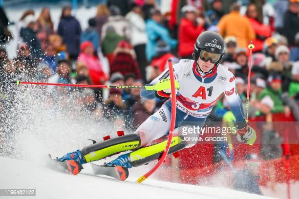 Clement Noel of France competes to place third in the men's Slalom event at the FIS Alpine Ski World Cup in Kitzbuehel Austria on January 26 2020 /...
