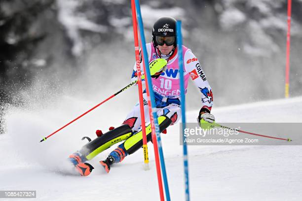 Clement Noel of France in action during the Audi FIS Alpine Ski World Cup Men's Slalom on January 20 2019 in Wengen Switzerland