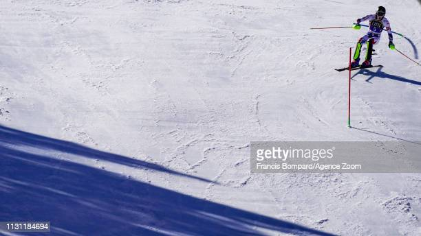 Clement Noel of France in action during the Audi FIS Alpine Ski World Cup Men's Slalom and Women's Giant Slalom on March 17, 2019 in Soldeu Andorra.