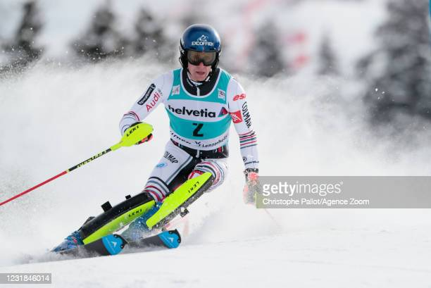 Clement Noel of France in action during the Audi FIS Alpine Ski World Cup Men's Slalom on March 21, 2021 in Lenzerheide, Switzerland.