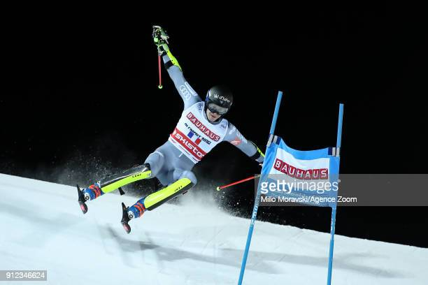 Clement Noel of France in action during the Audi FIS Alpine Ski World Cup Men's and Women's City Event on January 30 2018 in Stockholm Sweden