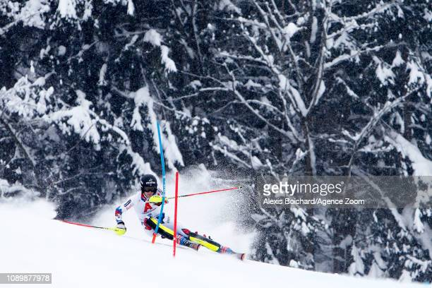 Clement Noel of France takes 1st place during the Audi FIS Alpine Ski World Cup Men's Slalom on January 26 2019 in Kitzbuehel Austria