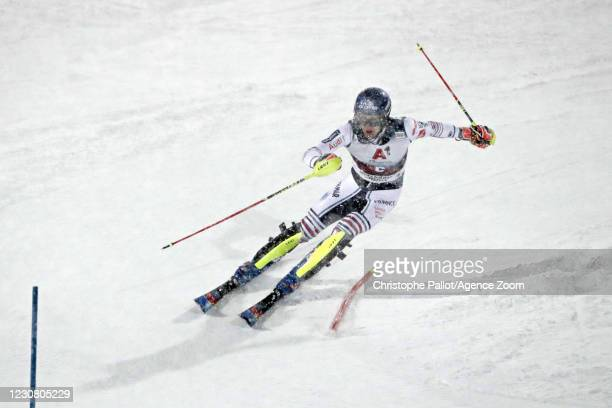 Clement Noel of France takes 2nd place during the Audi FIS Alpine Ski World Cup Men's Slalom on January 26, 2021 in Schladming Austria.