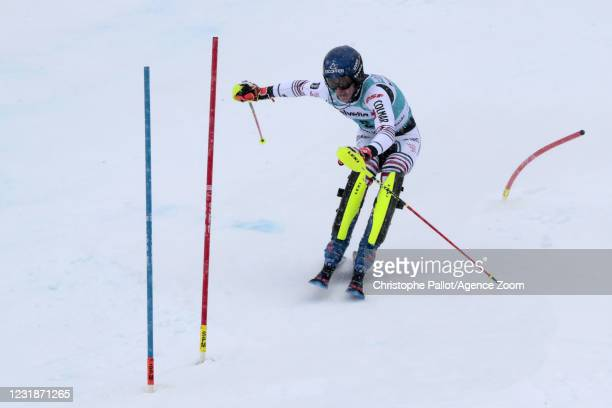 Clement Noel of France takes 2nd place during the Audi FIS Alpine Ski World Cup Men's Slalom on March 21, 2021 in Lenzerheide, Switzerland.