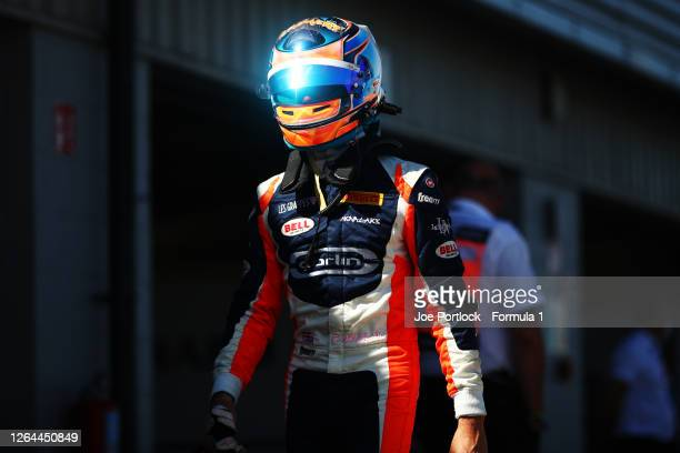 Clement Novalak of Great Britain and Carlin Buzz Racing after practice for the Formula 3 Championship at Silverstone on August 07, 2020 in...