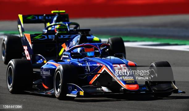 Clement Novalak of Great Britain and Carlin Buzz Racing drives during practice for the Formula 3 Championship at Silverstone on August 07, 2020 in...