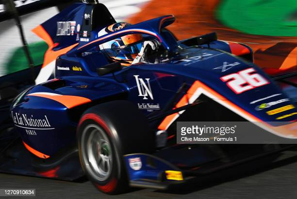 Clement Novalak of Great Britain and Carlin Buzz Racing drives to the grid before race two of the Formula 3 Championship at Autodromo di Monza on...