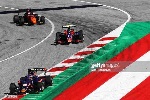 Clement Novalak of Great Britain and Carlin Buzz Racing leads David Beckmann of Germany and Trident and Richard Verschoor of the Netherlands and MP...