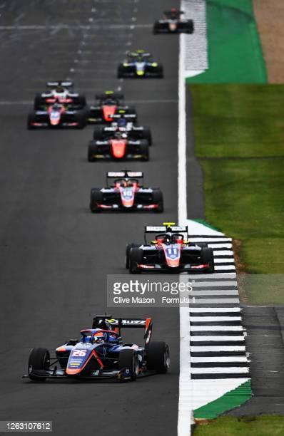 Clement Novalak of Great Britain and Carlin Buzz Racing leads David Beckmann of Germany and Trident during race one of the Formula 3 Championship at...