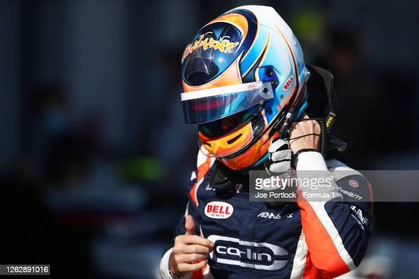 Clement Novalak of Great Britain and Carlin Buzz Racing prepares for practice for the Formula 3 Championship at Silverstone on July 31, 2020 in...